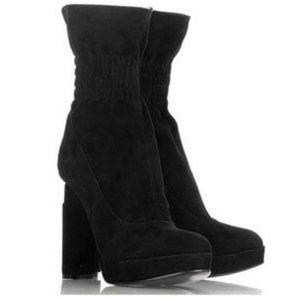 Fendi Suede/Leather Smocked Triangle Heel Boots